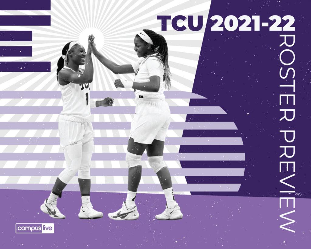 Two TCU women basketball players high fiving