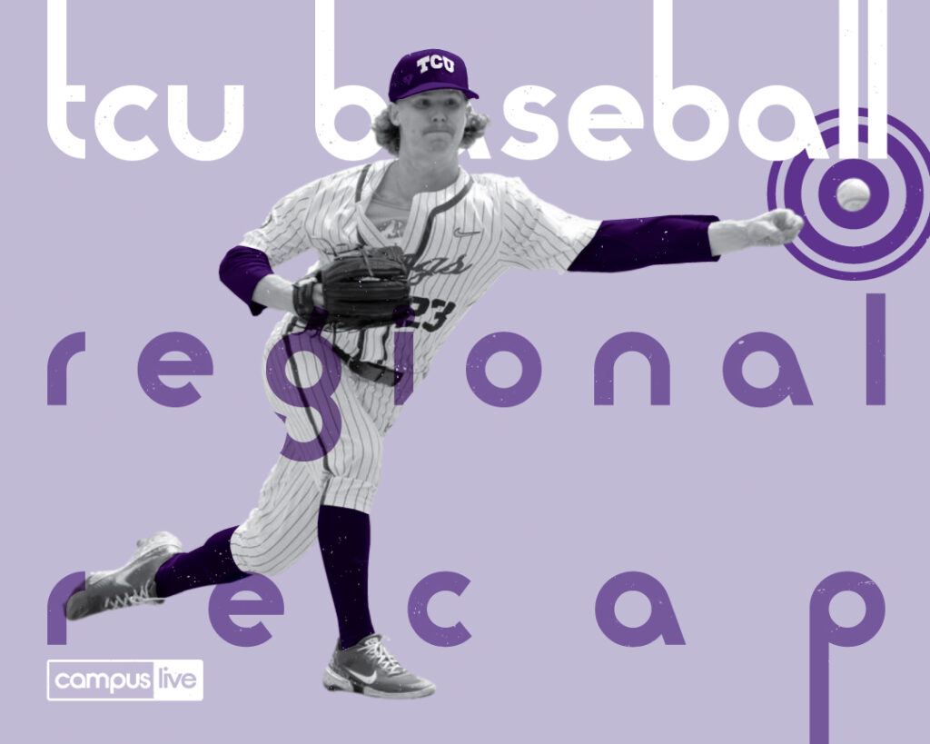 TCU Player pitches with TCU color background behind
