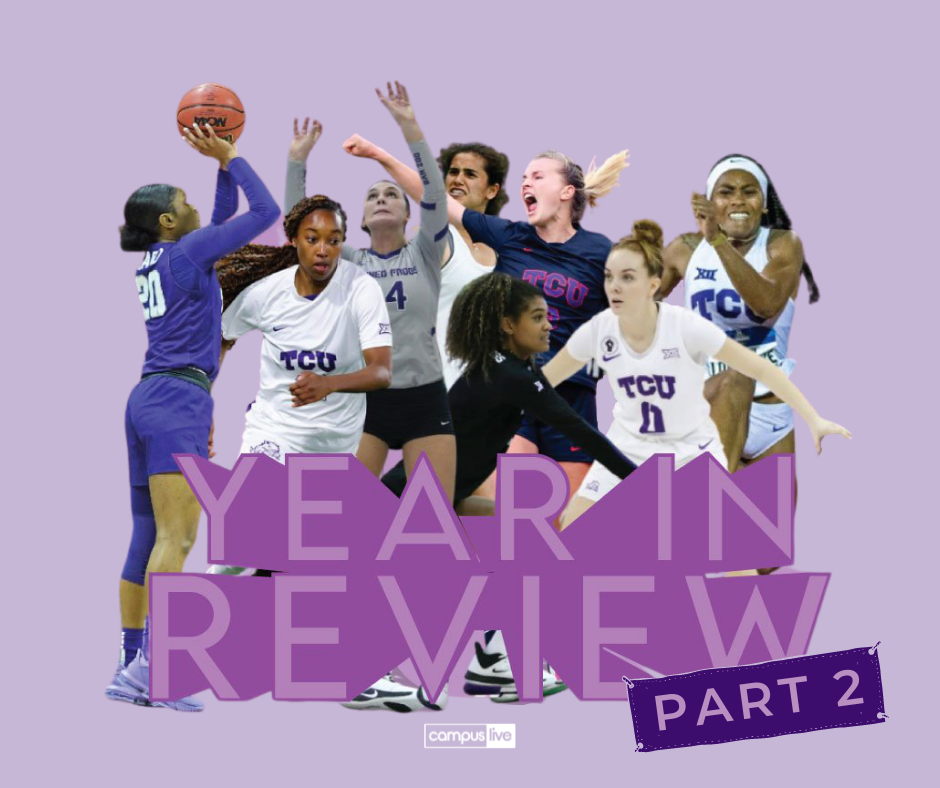 TCU womens athletes combined on a custom graphic with large year in review text and a part 2 banner