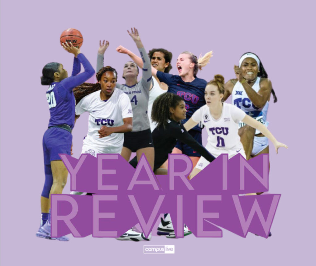 tcu women athletes with large year in review headline