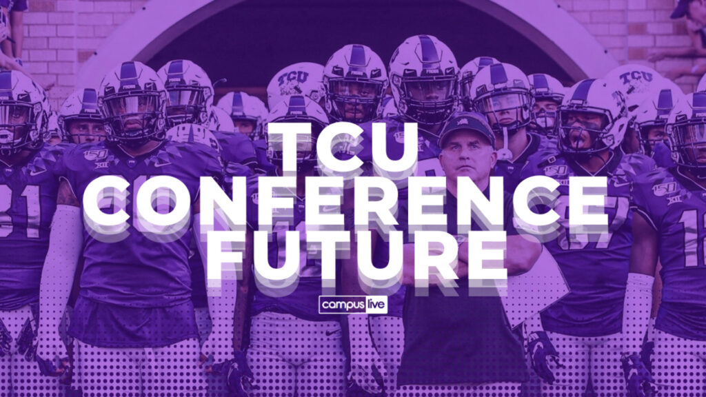 """graphic of tcu football team with gary patterson at the entrance of the stadium tunnel with tough faces. Purple elements and futuristic type describe """"tcu conference future"""""""