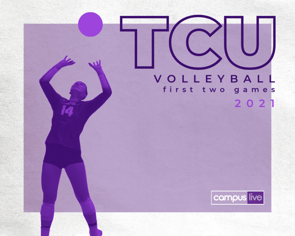 purple and white background with tcu volleyball first two games text and a neon purple cutout of a tcu player