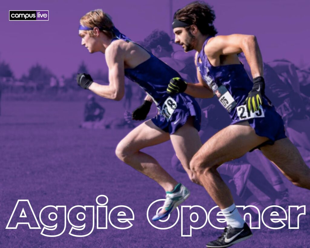 two TCU cross country runners with Aggie opener text on a purple background
